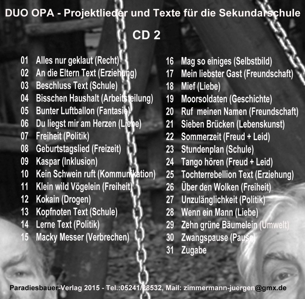 Songs der Projektlieder-CD 2